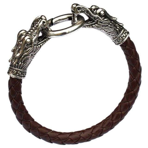 Image of Dragon leather Tibetan silver men bracelet NS3 VAL1 | Almas Collections |
