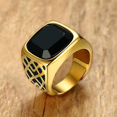 New Square in Gold Tone Stainless Steel Black Carnelian Semi-Precious Stone Signet Ring for Men IS1 NS3 - Almas Collections