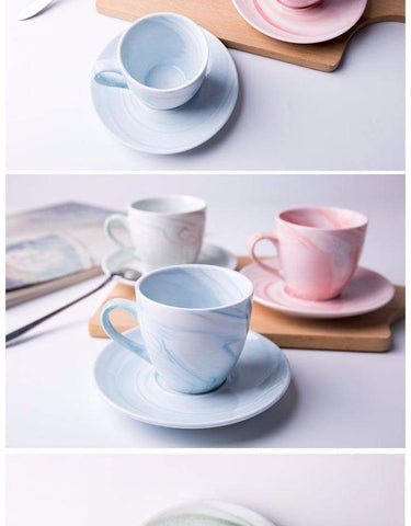 Image of Modern Marbled Ceramic Coffee Cup Set HM1 Almas Collections  tea cup
