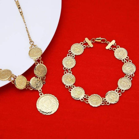 Image of Money Coin Necklace Bracelet 24K Gold Colour Jewellery Set  IS1 NS1 Almas Islamic Jewellry set