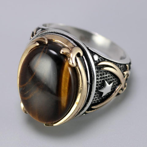 Image of Vintage Turkish Natural Onyx Tiger Eye in S925 Sterling Silver Rings in Brown colour form Almas Collections
