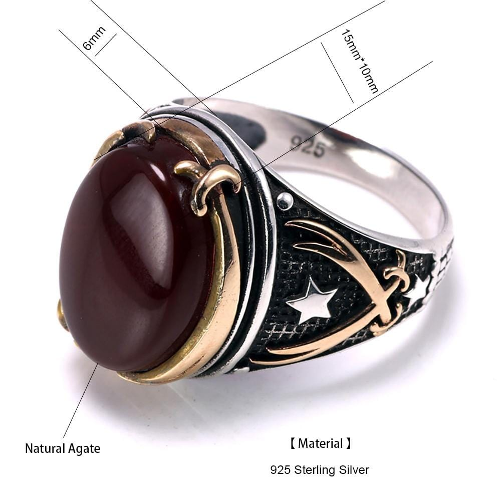 Vintage Turkish Natural Onyx Tiger Eye in S925 Sterling Silver Rings in Red colour Size form Almas Collections