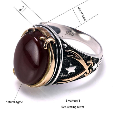 Image of Vintage Turkish Natural Onyx Tiger Eye in S925 Sterling Silver Rings in Red colour Size form Almas Collections