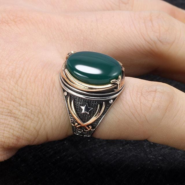 Vintage Turkish Natural Onyx Tiger Eye in S925 Sterling Silver Rings in Green colour on Model Hand form Almas Collections