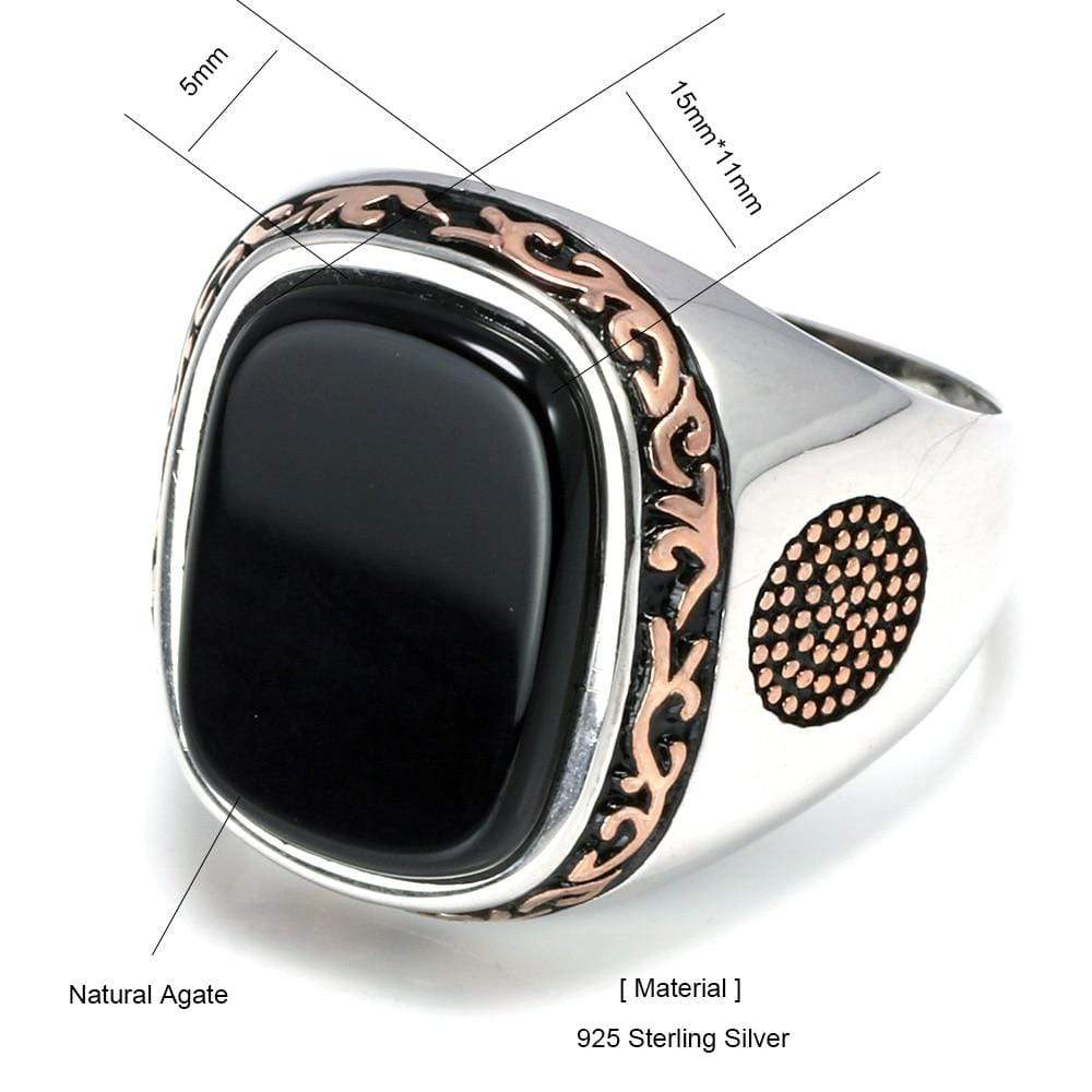 New Real Silver S925 Retro Vintage Natural Black Onyx Stone Turkish Ring size from Almas Collections
