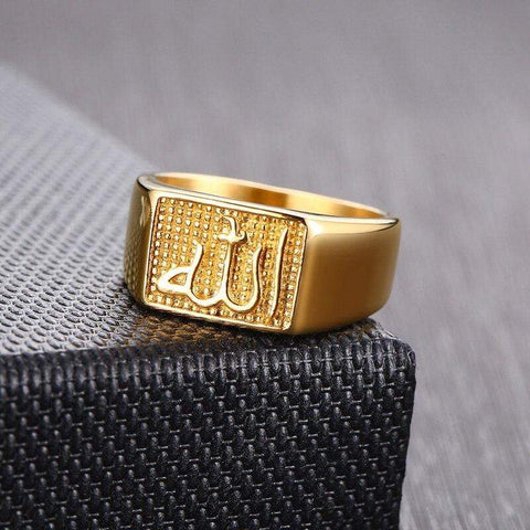 Image of New Allah Stainless Steel Signet Ring In Gold Tone IS1 IS2 NS2 Almas Collections  Allah ring