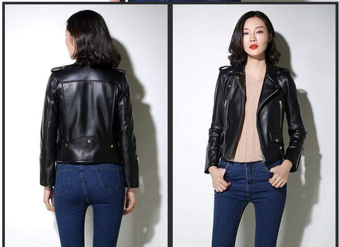 Image of New Genuine Leather Slim Biker Chick Jackets Model Back and Front from Almas Collections