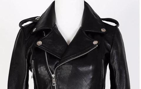 Image of New Genuine Leather Slim Biker Chick Jackets front view from Almas Collections
