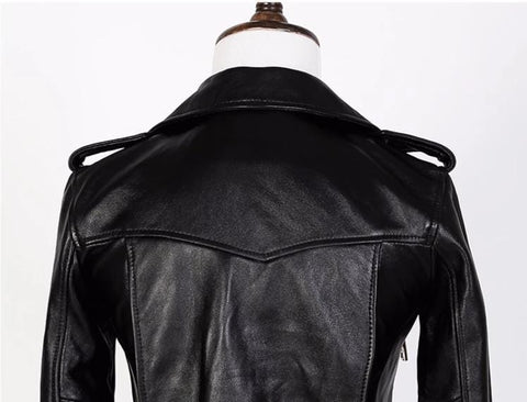 Image of New Genuine Leather Slim Biker Chick Jackets back view from Almas Collections