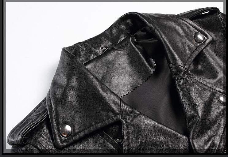 New Genuine Leather Slim Biker Chick Jackets close up of collar from Almas Collections