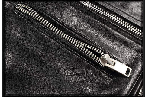 Image of New Genuine Leather Slim Biker Chick Jackets Pocket zip from Almas Collections