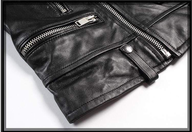 New Genuine Leather Slim Biker Chick Jackets close up of bottom from Almas Collections