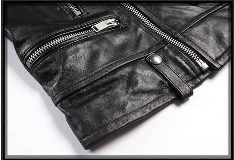 Image of New Genuine Leather Slim Biker Chick Jackets close up of bottom from Almas Collections