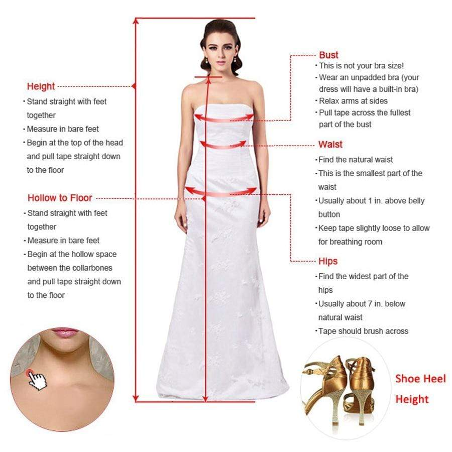 Tulle Boho Wedding dress size chart from Almas Collections