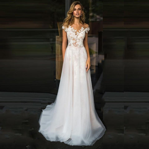 Tulle Boho Long Princes Beach Wedding Dress from Almas Collections