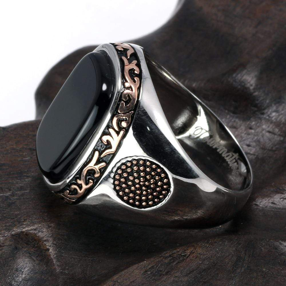New Real Silver S925 Retro Vintage Natural Black Onyx Stone Turkish Ring side view from Almas Collections