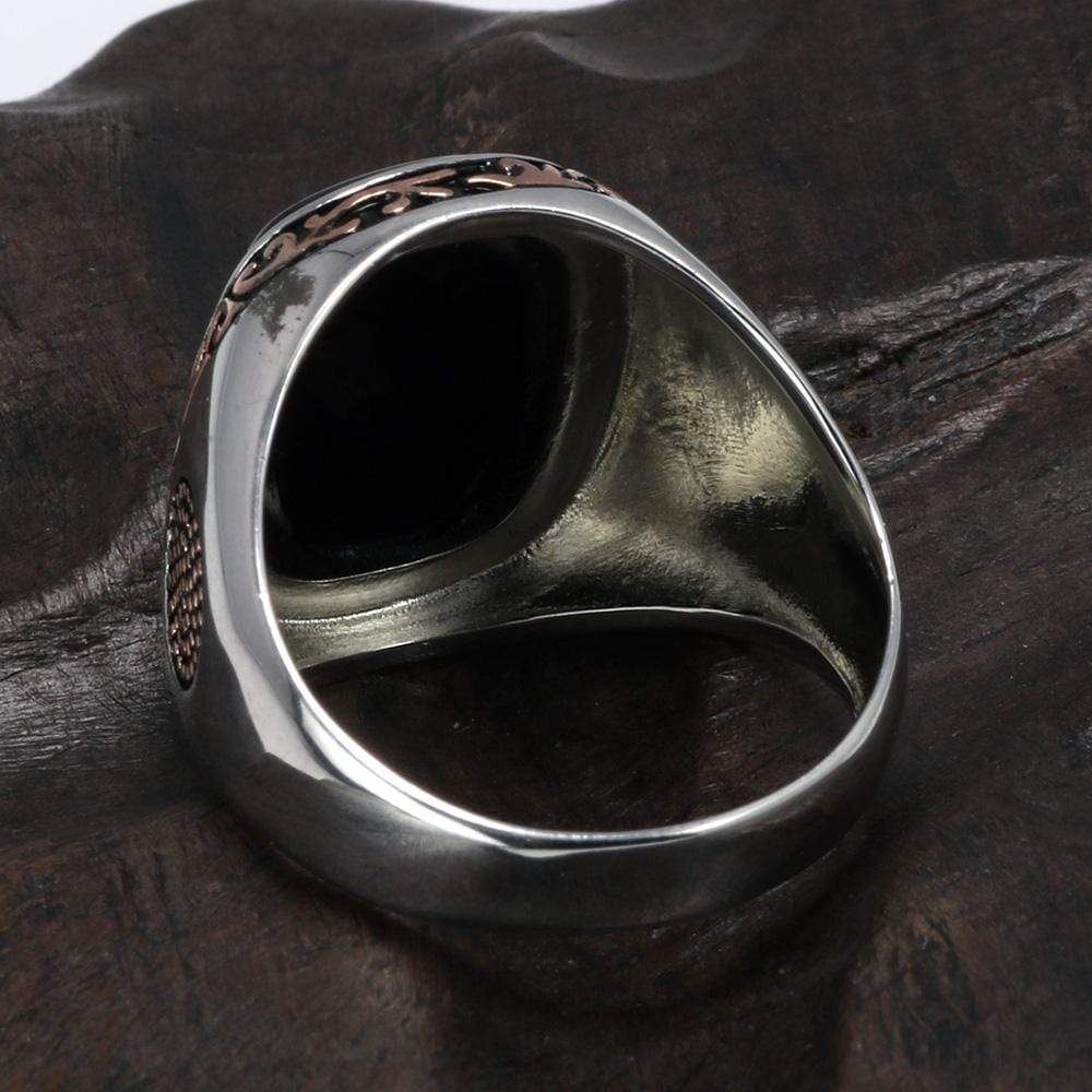 New Real Silver S925 Retro Vintage Natural Black Onyx Stone Turkish Ring back view from Almas Collections