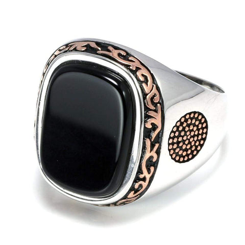 Image of New Real Silver S925 Retro Vintage Natural Black Onyx Stone Turkish Ring IS1 IS2 VAL1