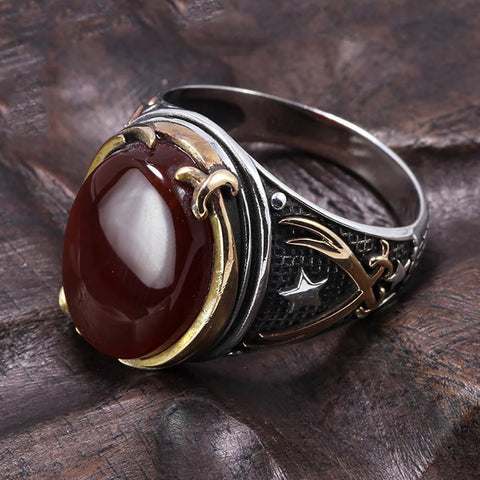 Image of Vintage Turkish Natural Onyx Tiger Eye in S925 Sterling Silver Rings in Red colour Side View form Almas Collections