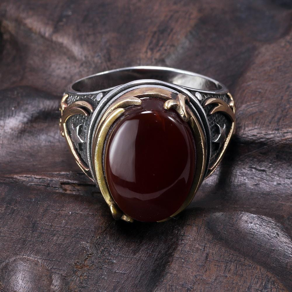 Vintage Turkish Natural Onyx Tiger Eye in S925 Sterling Silver Rings in Red colour form Almas Collections