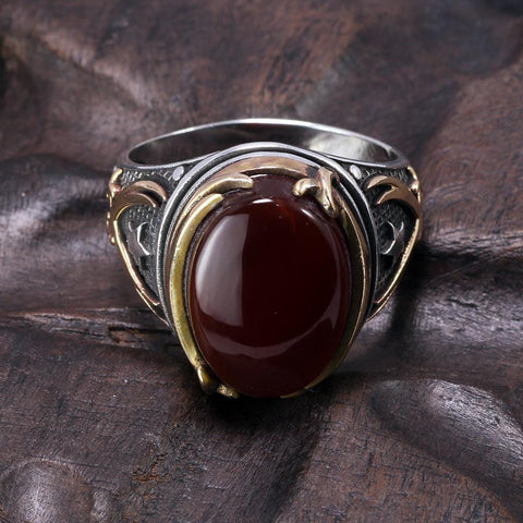 Image of Vintage Turkish Natural Onyx Tiger Eye in S925 Sterling Silver Rings in Red colour form Almas Collections