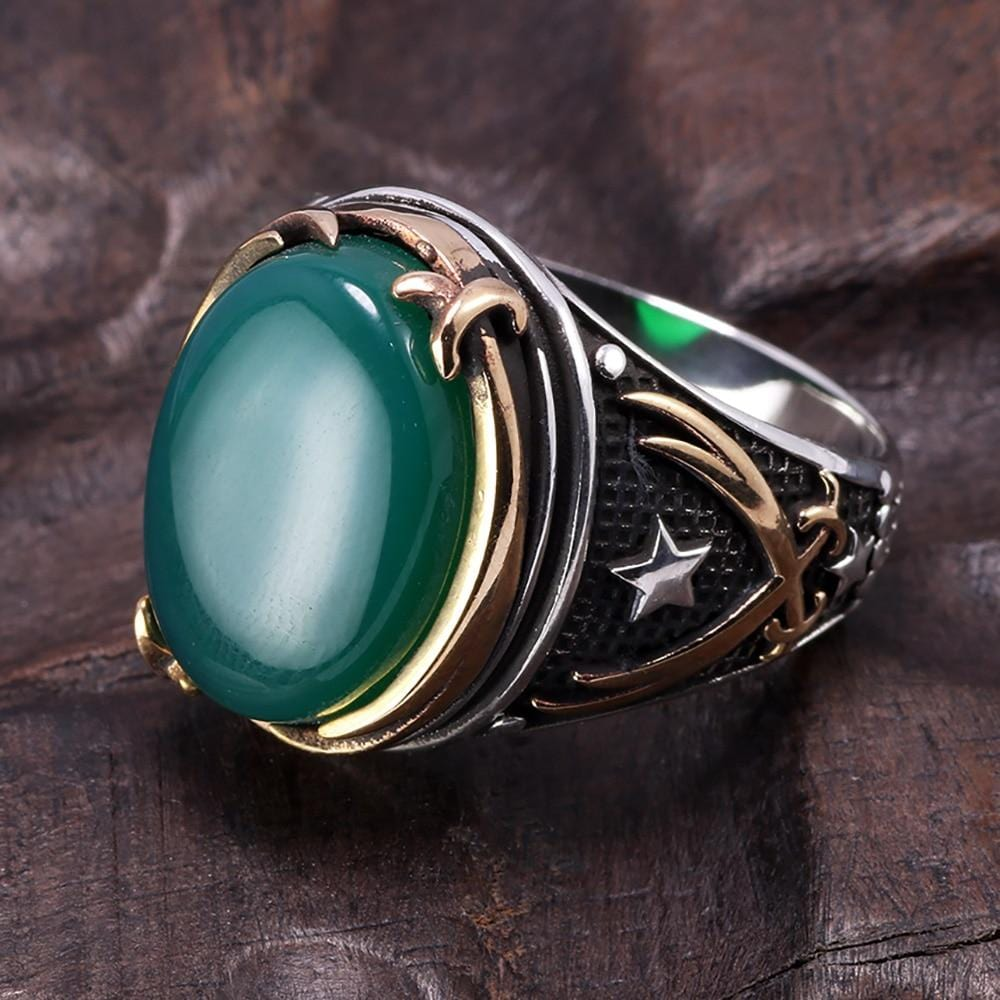 Vintage Turkish Natural Onyx Tiger Eye in S925 Sterling Silver Rings in Green colour Side View form Almas Collections