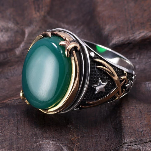 Image of Vintage Turkish Natural Onyx Tiger Eye in S925 Sterling Silver Rings in Green colour Side View form Almas Collections