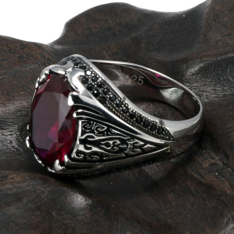 New 925 Silver Vintage Turkish Ring Red Wine color For Men & Women