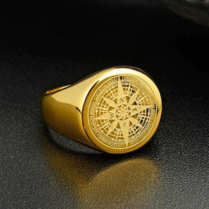 New Compass in Stainless Steel Navigator Ring in Gold color from Almas Collections
