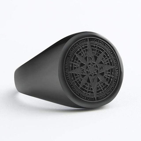 Image of New Compass in Stainless Steel Navigator Ring in Black color from Almas Collections