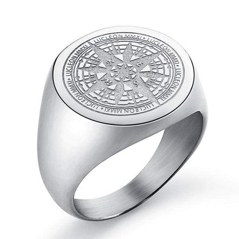 Image of New Compass in Stainless Steel Navigator Ring in Silver color from Almas Collections