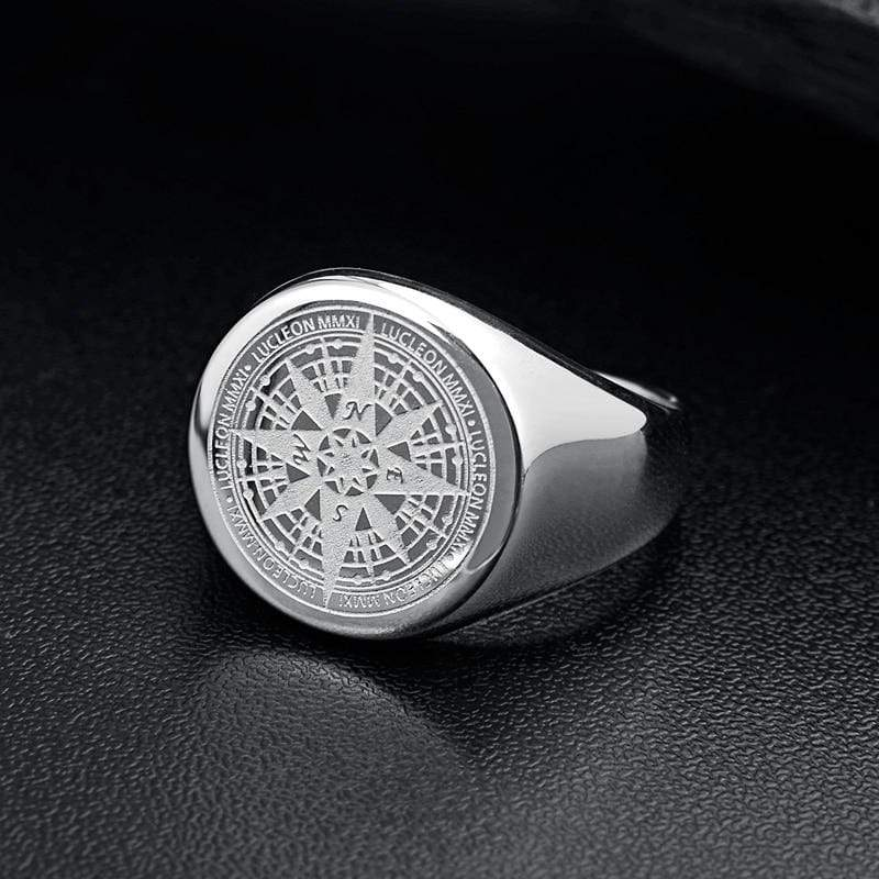 New Compass in Stainless Steel Navigator Ring in Silver color from Almas Collections