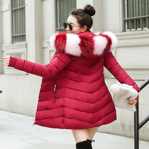 New Almas Long Hooded Parkas Winter Jacket back view with red white stripe hood Almas Collections