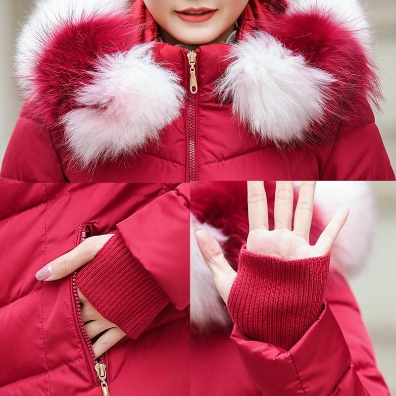 New Almas Long Hooded Parkas Winter Jacket closeup view with red white stripe hood Almas Collections