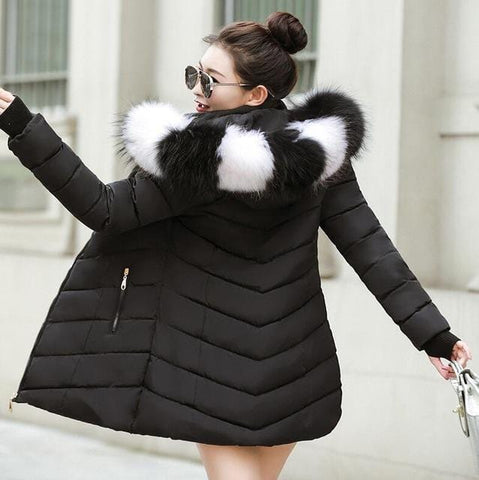 Image of New Almas Long Hooded Parkas black Winter Jacket back view with black white stripe hood Almas Collections