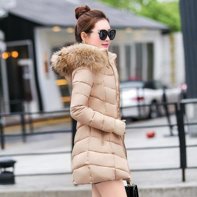 New Almas Long Hooded Parkas Winter Khaki color Jacket side view Almas Collections