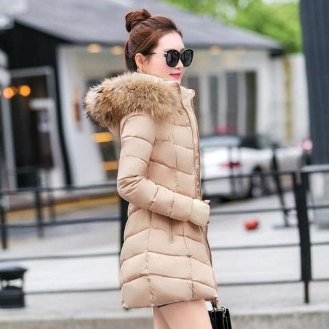 Image of New Almas Long Hooded Parkas Winter Khaki color Jacket side view Almas Collections