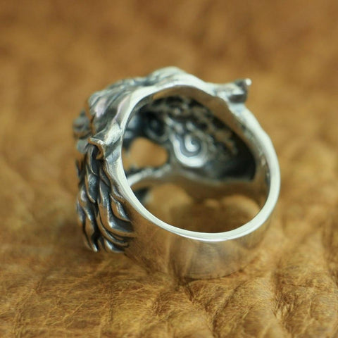 Image of New Tiger 925 Sterling Silver Ring back view from Almas Collections