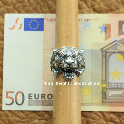 Image of New Tiger 925 Sterling Silver Ring size comparison from Almas Collections