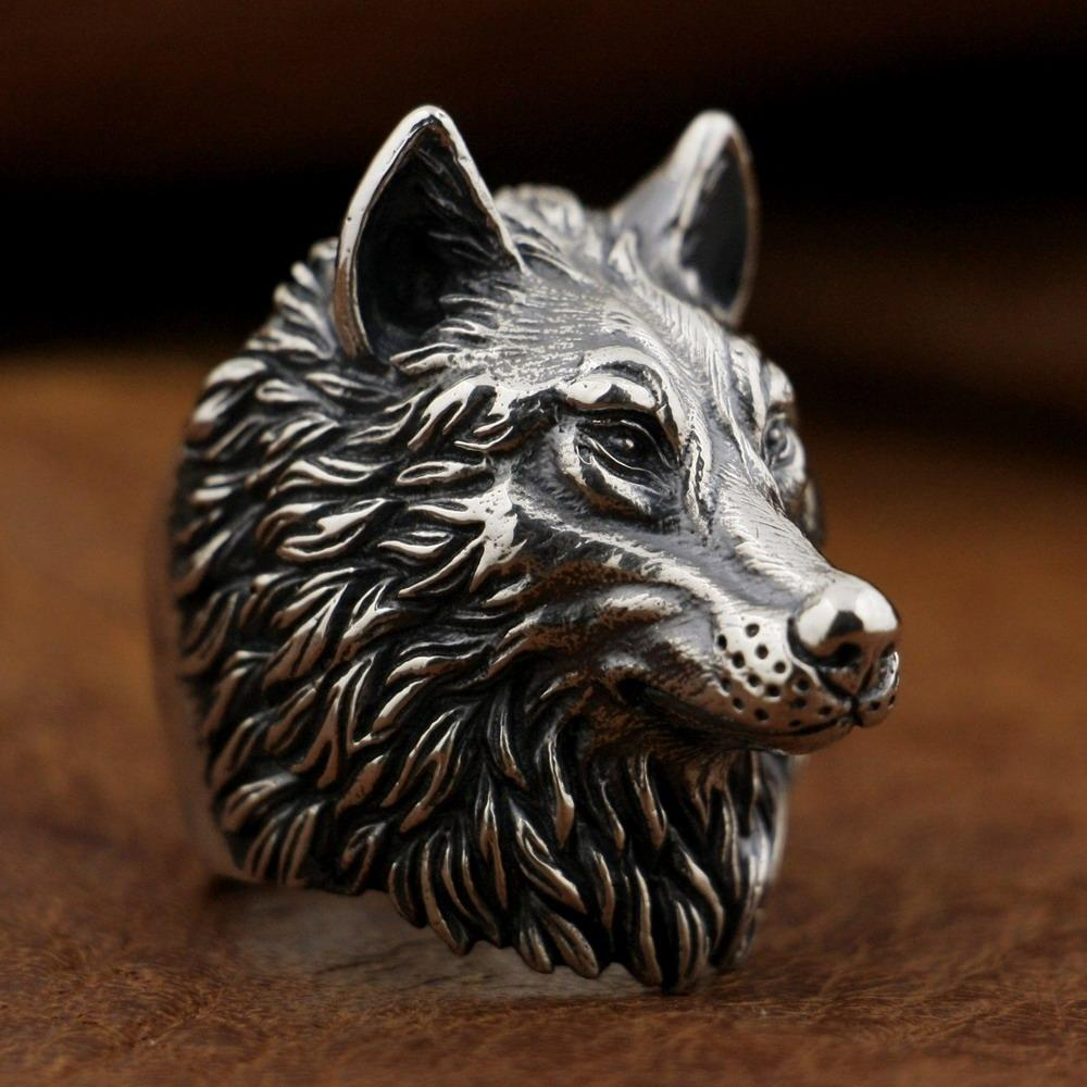 New Wolf 925 Sterling Silver Ring angle view from Almas Collections