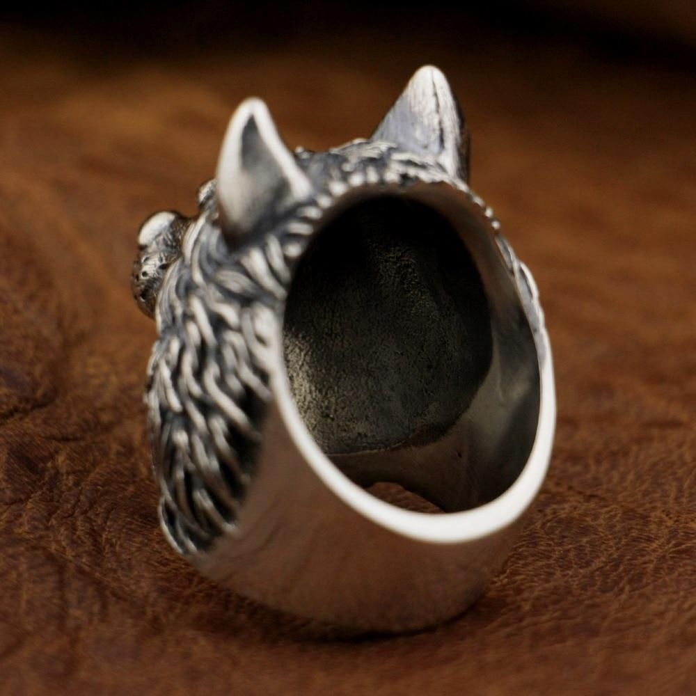 New Wolf 925 Sterling Silver Ring back view from Almas Collections