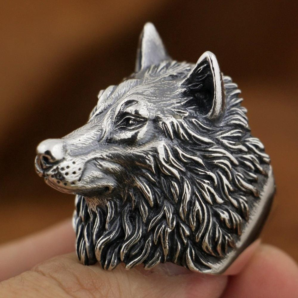 New Wolf 925 Sterling Silver Ring side view from Almas Collections