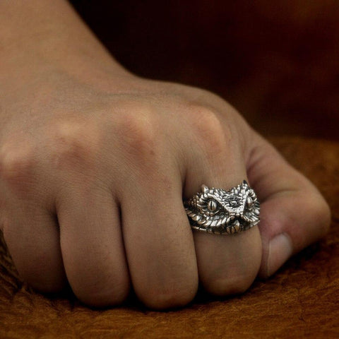 New 925 Sterling Silver Snake Ring worn by model from Almas Collections