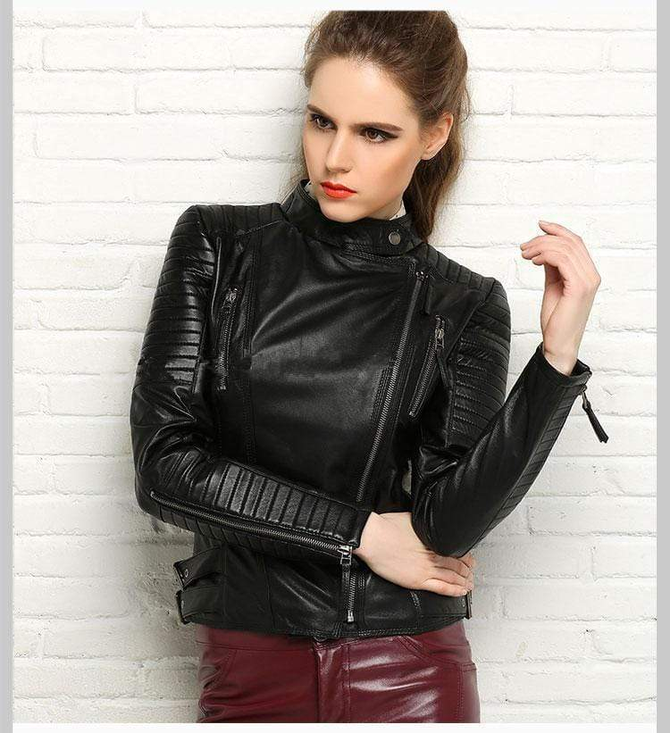 New Biker Genuine Short Slim Leather Jackets front view worn by model from Almas Collections