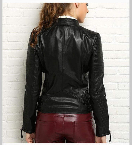 Image of New Biker Genuine Short Slim Leather Jackets back view from Almas Collections