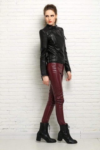 Image of New Biker Genuine Short Slim Leather Jackets side view from Almas Collections