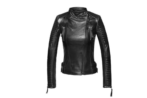 Image of New Biker Genuine Short Slim Leather Jackets front view from Almas Collections