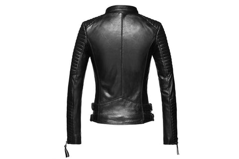 Image of New Biker Genuine Short Slim Leather Jackets in black back view from Almas Collections