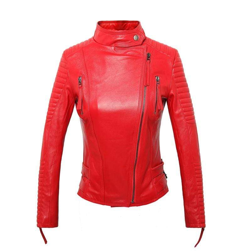 New Biker Genuine Short Slim Leather Jackets in red, front viewfrom Almas Collections