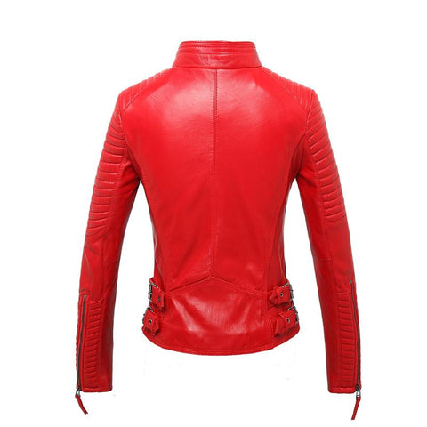 Image of New Biker Genuine Short Slim Leather Jackets in red, back view from Almas Collections